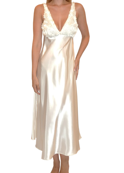 Flora Nikrooz Bellflower Gown      Beautiful and classic charmeuse gown. Floral design at the cups adds a whimsical touch.  Sizes: S-M-L Color: Ivory