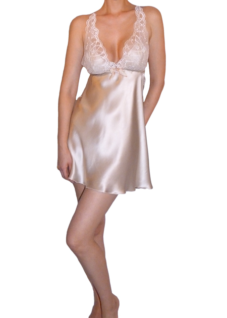 Flora Nikrooz Gabby Chemise   Ethereal and beautiful, the Gabby Chemise features a silky charmeuse body with a sparkling shimmer lace at the built up cups. A lovely ombre silk bow sits at the center front , adding a sweet touch. The back includes a shimmer lace racer-back with adjustable straps.   Sizes: S/M/L Colors:   Champagne and Ivory