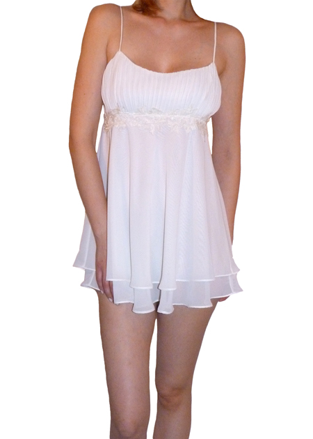Flora Nikrooz First Love Chemise      Beautiful chiffon chemise featuring a mushroom pleated bust and venice band trim under the bust. A double lined  chiffon skirt adds extra coverage, and the straps are adjustable for a  perfect fit.  Sizes:  S/M/L Colors: Ivory and Soft Pink