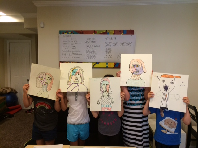 Art class- pattern self portraits