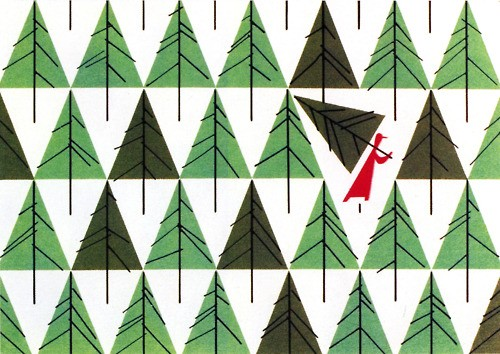 Christmas Card designed by Charley Harper for The Schaible Company in 1952