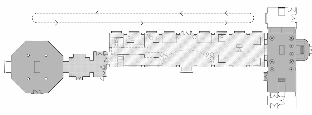 Plan of UCL venue with four distinct performance installation environments