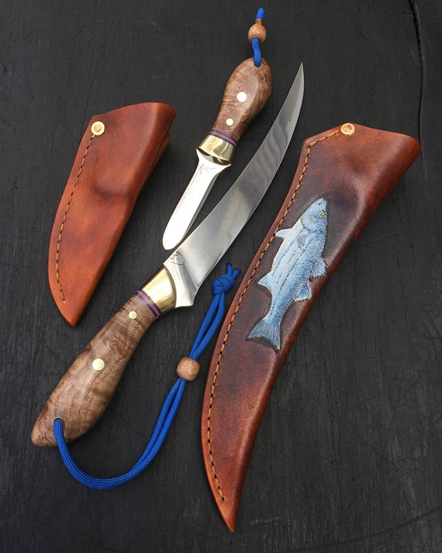 Matching fillet & oyster set. aeb-l stainless blades, brass bolsters, stabilized local oak burl, orange & blue G10,  Hand painted leather fillet sheath with kydex liner.  #filletknife #oysterknife #toolsofthetrade #capemade #knifemaking #leatherwork #leatherart #stripedbass #theofficialoysterknifeofcapecod