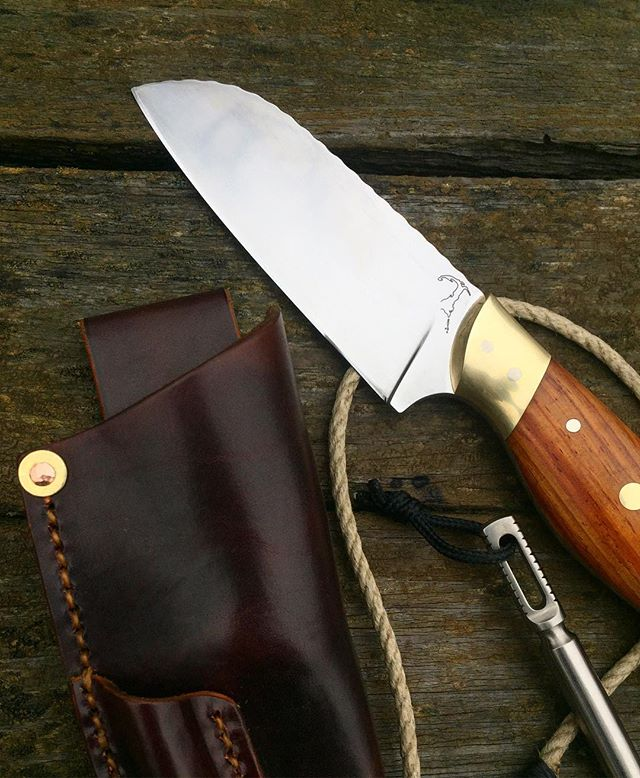 """4"""" rigging knife in N690 with brass & cocobolo, 6"""" Ti marlin spike with shackle key.  This thing went off to the bosun of a 262' mega yacht called Titan."""