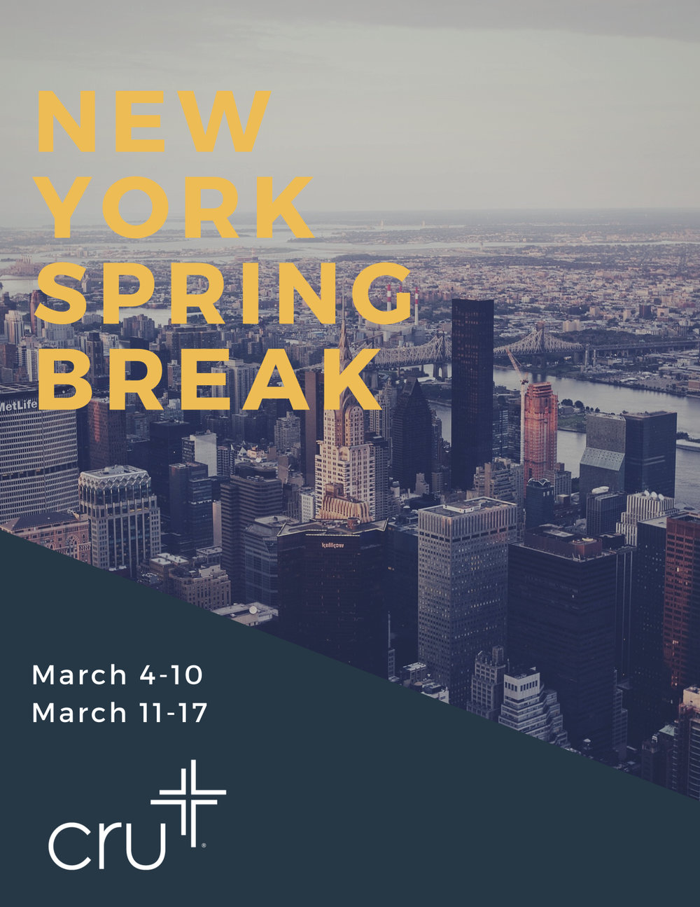 - Where: New York CityWhen: Trip 1: March 3-10, 2018 // Trip 2: March 10-17, 2018Cost: $315. This includes a Metro Card for the week, a ticket to Top of the Rock, hotel, breakfast daily, one dinner, one dessert, meeting room cost, and evangelism materials. Cost does not include airfare. We will be encouraging you to raise money via letter writing to friends/family.For more information/Registration click here:http://www.gonycsb.com/2018-dates.html