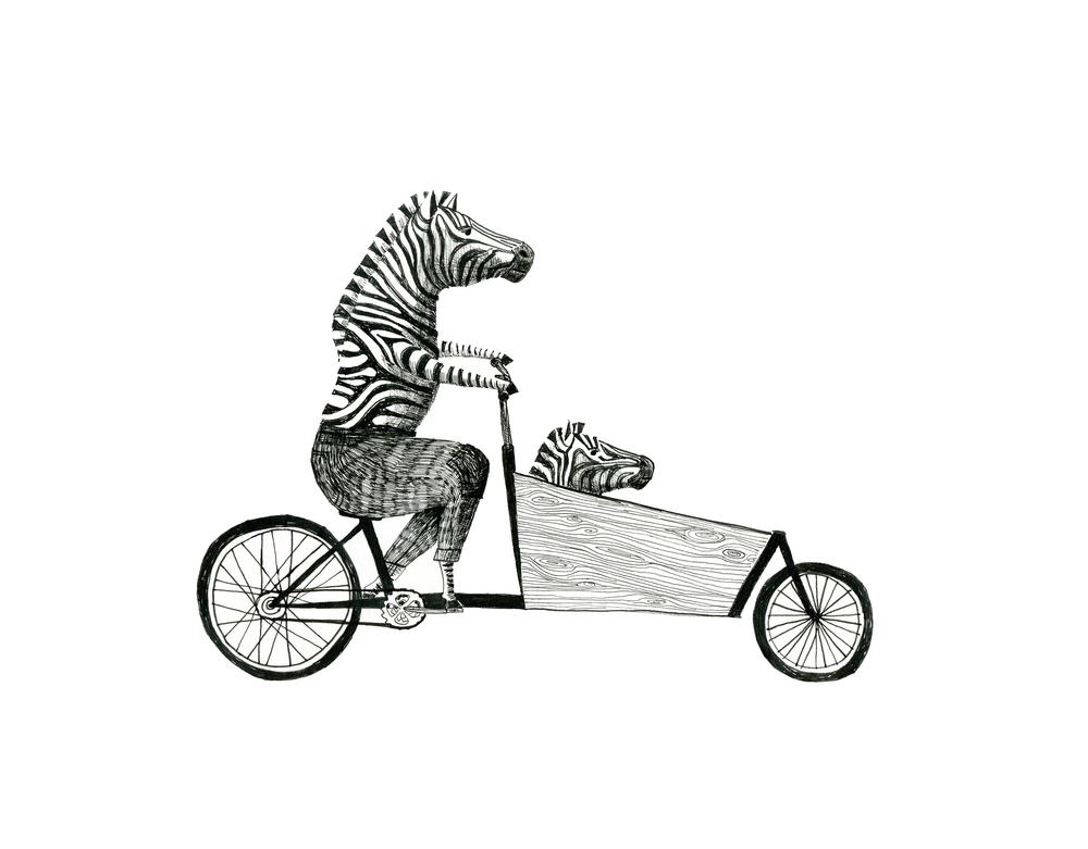 zebra family on a cargobike