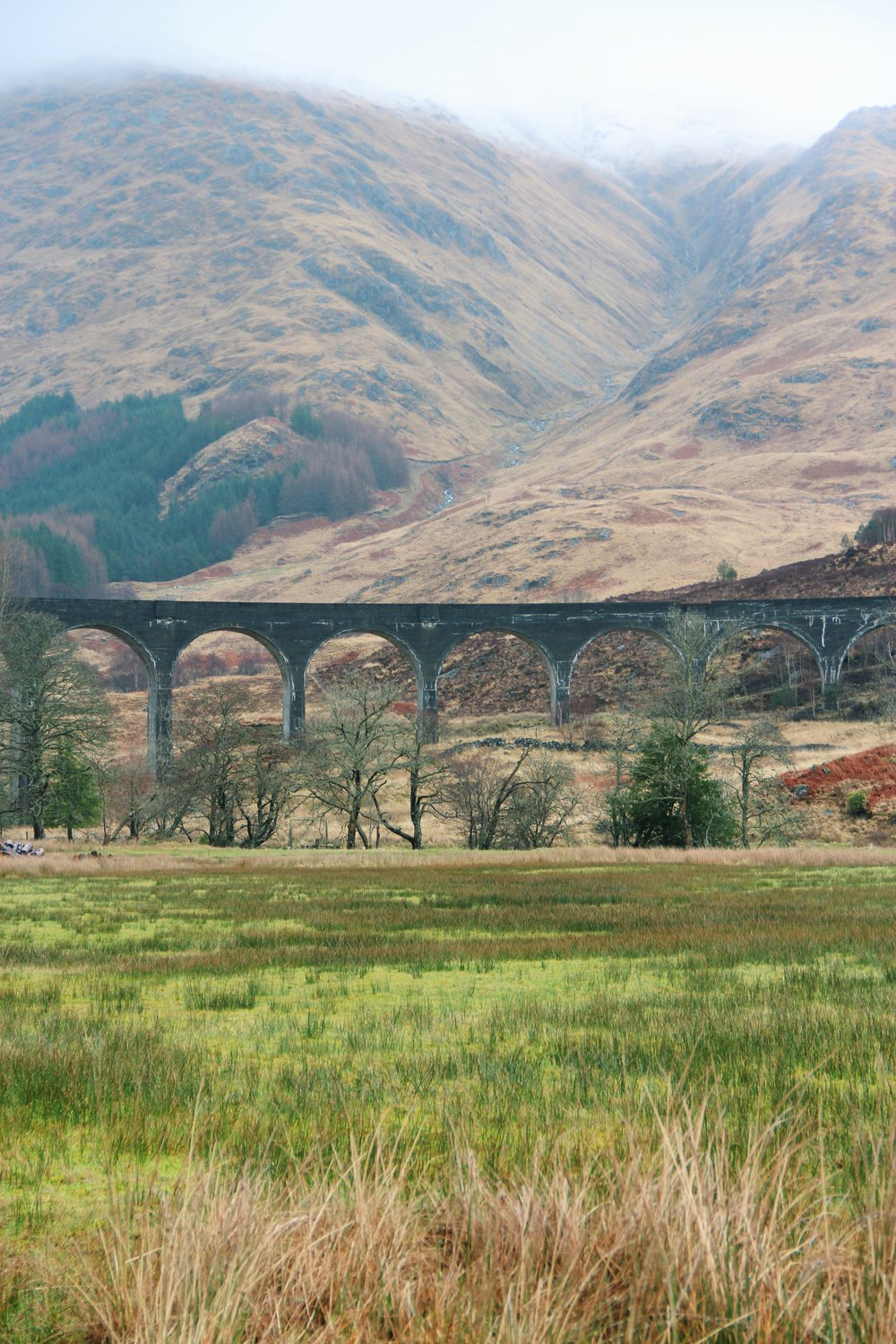 Glenfinnan Viaduct, where the Hogwarts Express flies by.
