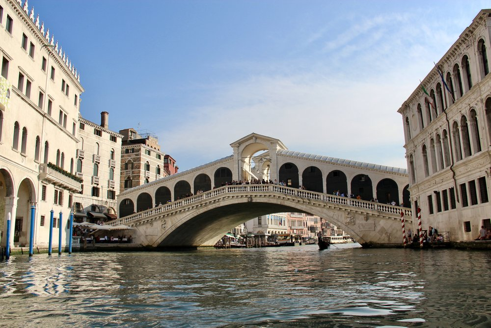The Rialto Bridge, as seen from our gondola on the Grand Canal.