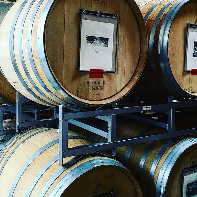 Enjoying amazing wines from @sanguiswinery #barrel #cellars #wine #misfit #bestofsantabarbara #wineenthusiast #winetour #santabarbara #seesb #california #vino #wineboss #rootedvinetours