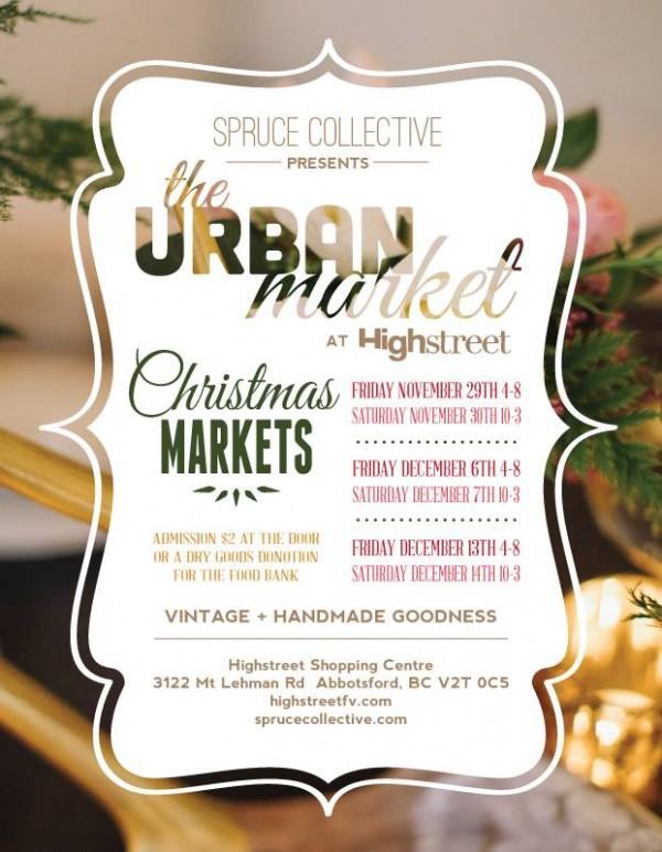 Spruce Presents the Urban Market at Highstreet Christmas markets