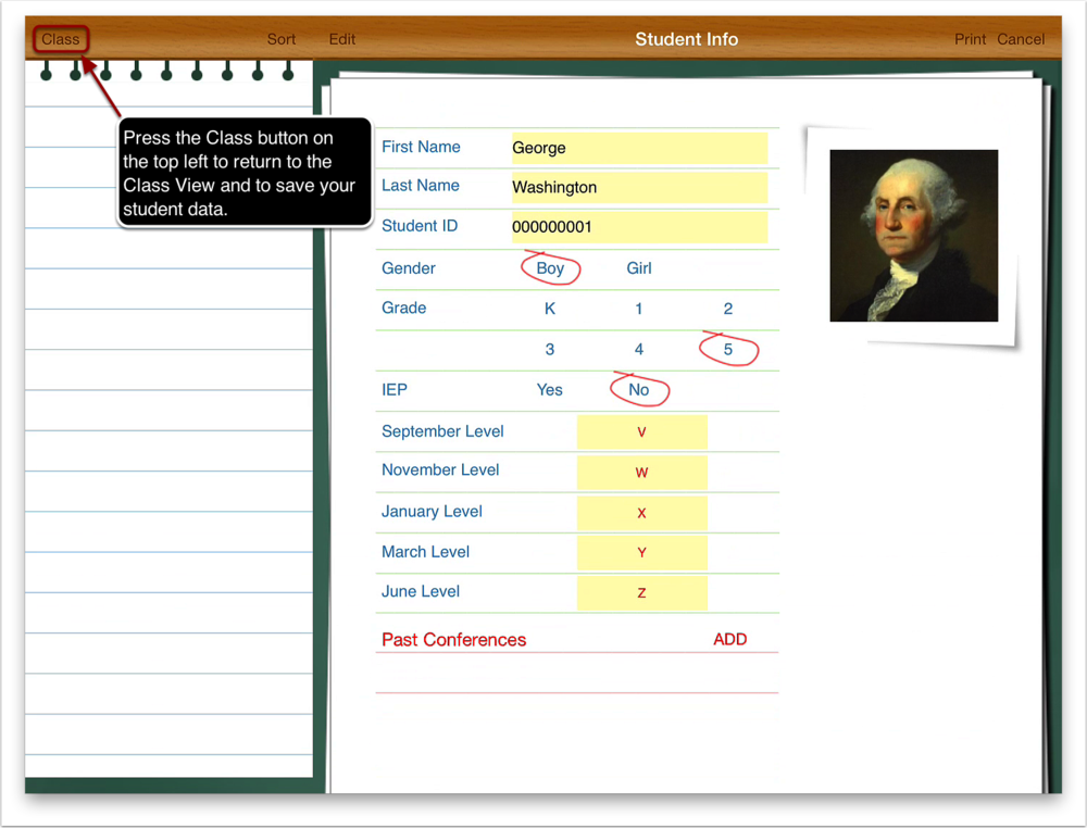 Press the Class button on the top left to return to the class view and save your student data.