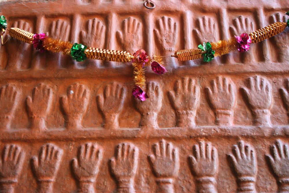 Hand prints of women who committed sati. Meherangarh Fort, Jodhpur.