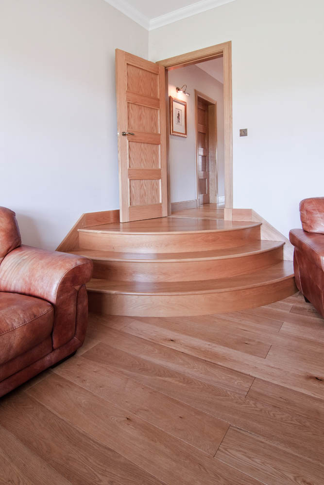 www.stockwell-ltd.co.uk   Quadrant stair in American white oak.