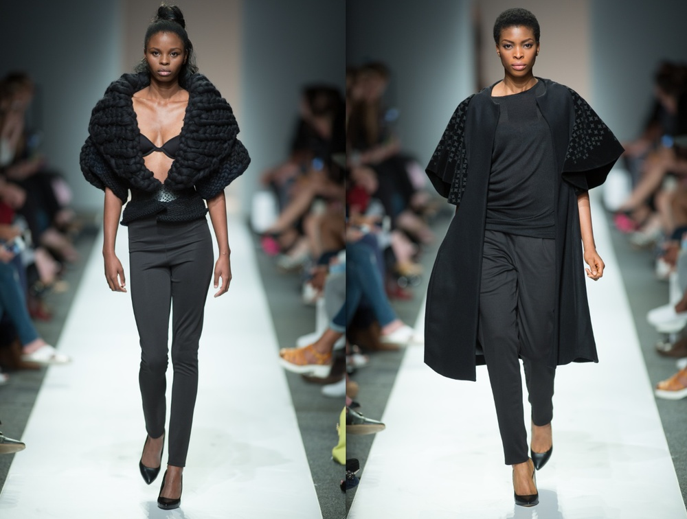The Fulani Headdresses inspired the proportion of the knitwear (left), and the sleeves on the coat (right).