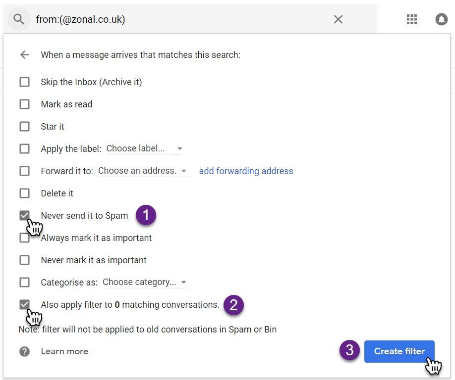 Step 3 - Gmail - Setup Never Send To Spam Filter.jpg
