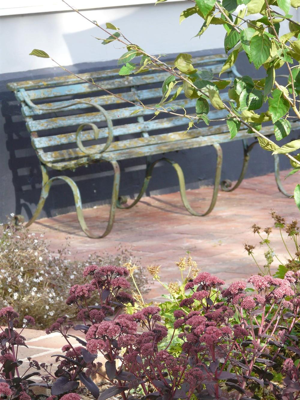 Vintage bench in Suffolk garden.jpg
