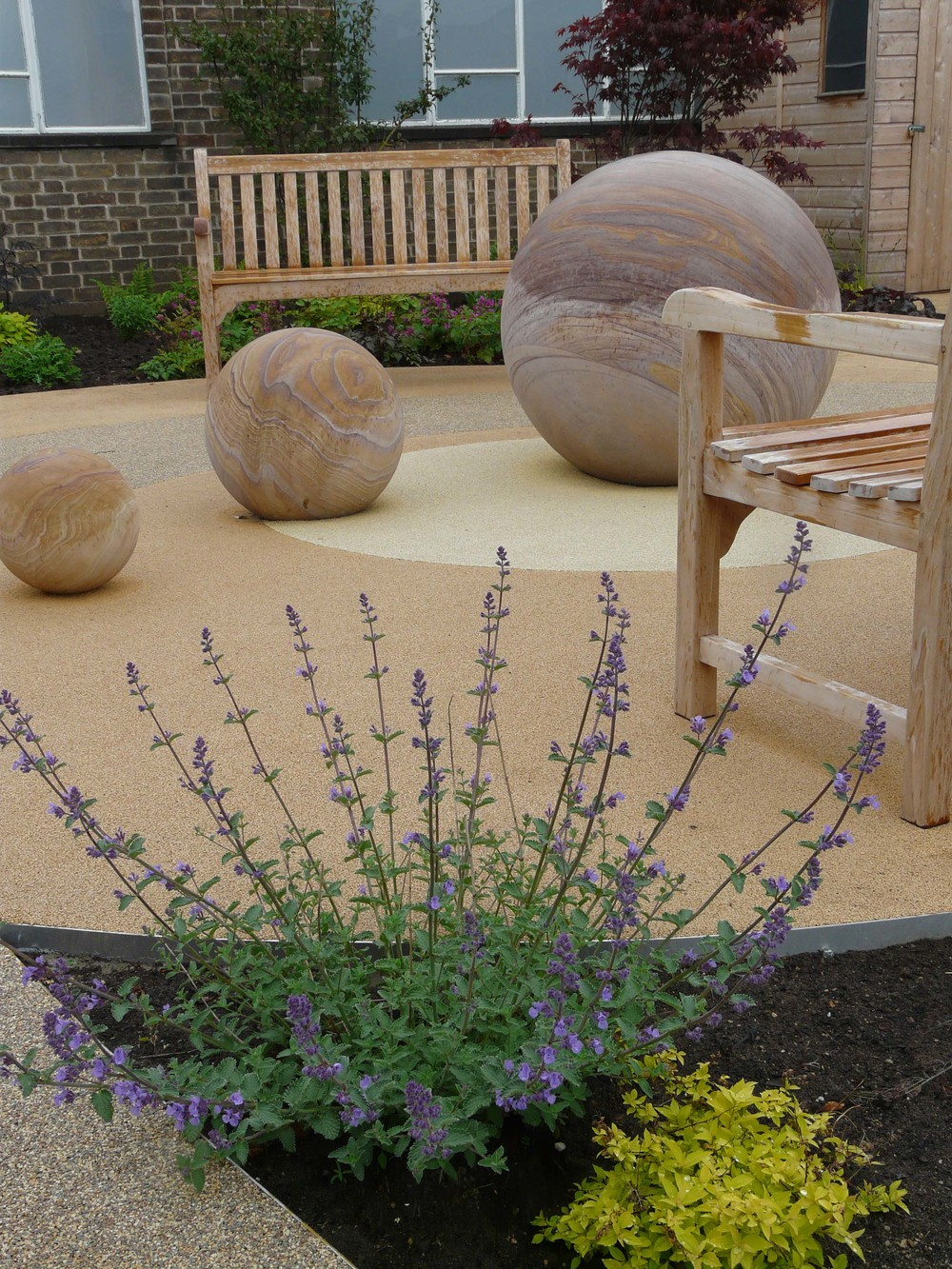 Stone balls in Dementia garden.jpg