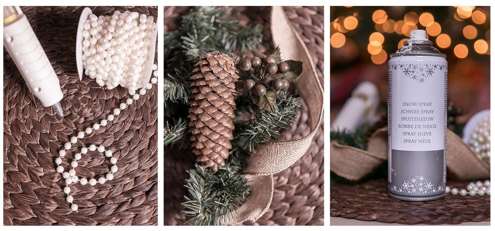 glue gun pearl pine cones burlap ribbon pine garland spray snow - Burlap Ribbon Christmas Decor