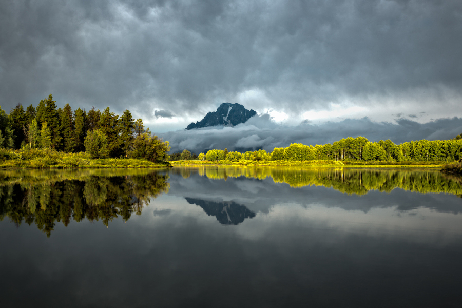 Grand Tetons in the clouds Reflection