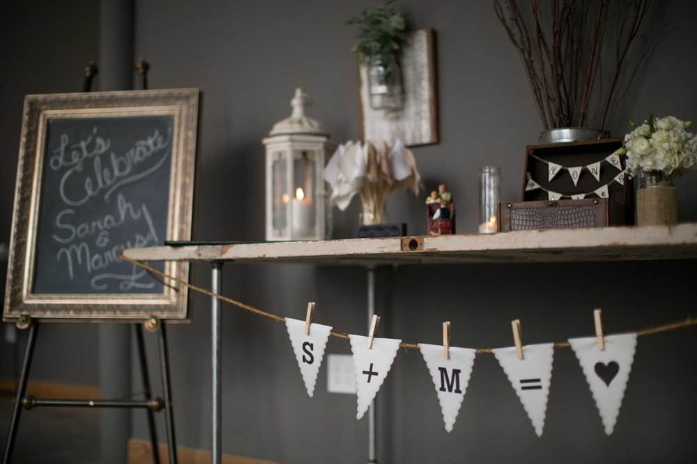 Welcome chalkboard and banner