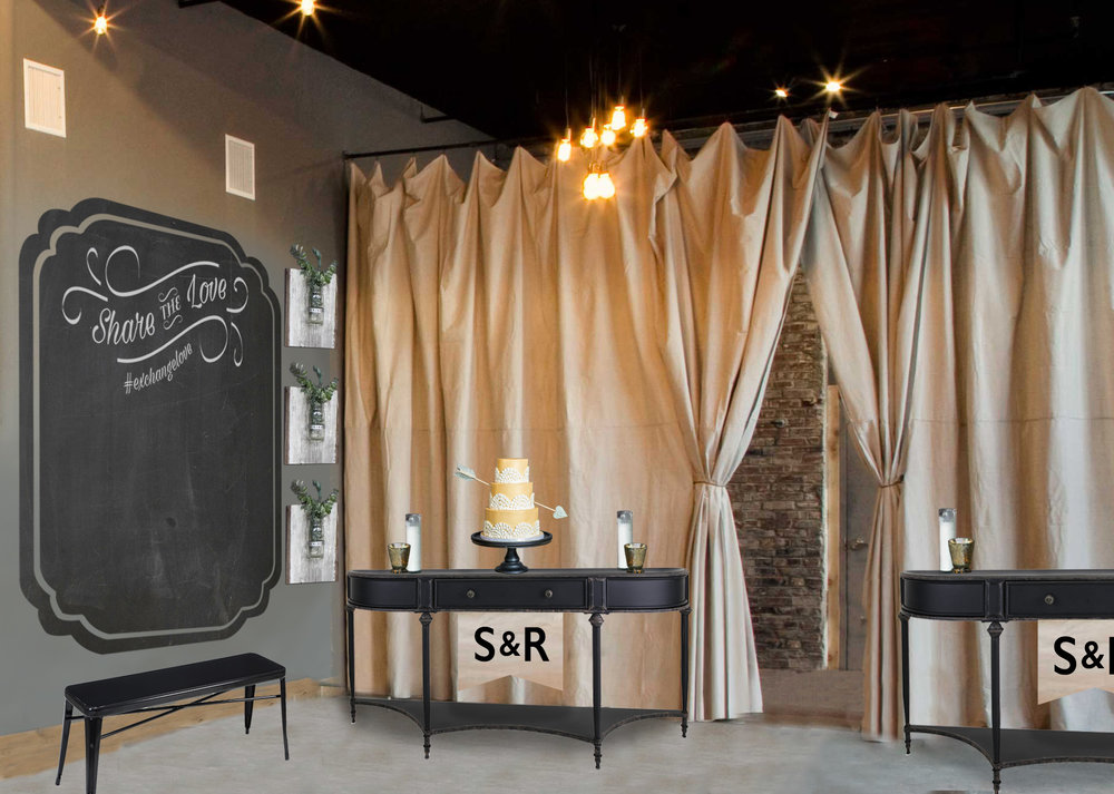 A pair of console tables with customized couple's initials frame the entrance from the bridal lounge creating a perfect place to sign the marriage license, display personal photos & cut the cake (if included).
