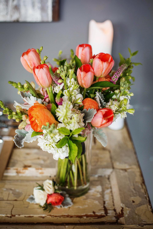 2. Coral Tulips & Tangerine Ranunculus