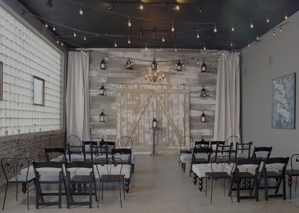 WE LIKE AN URBAN RUSTIC VENUE - FOR A SMALL & SIMPLE WEDDING WITH ONLY A FEW DOZEN OF OUR CLOSEST FAMILY & FRIENDS.