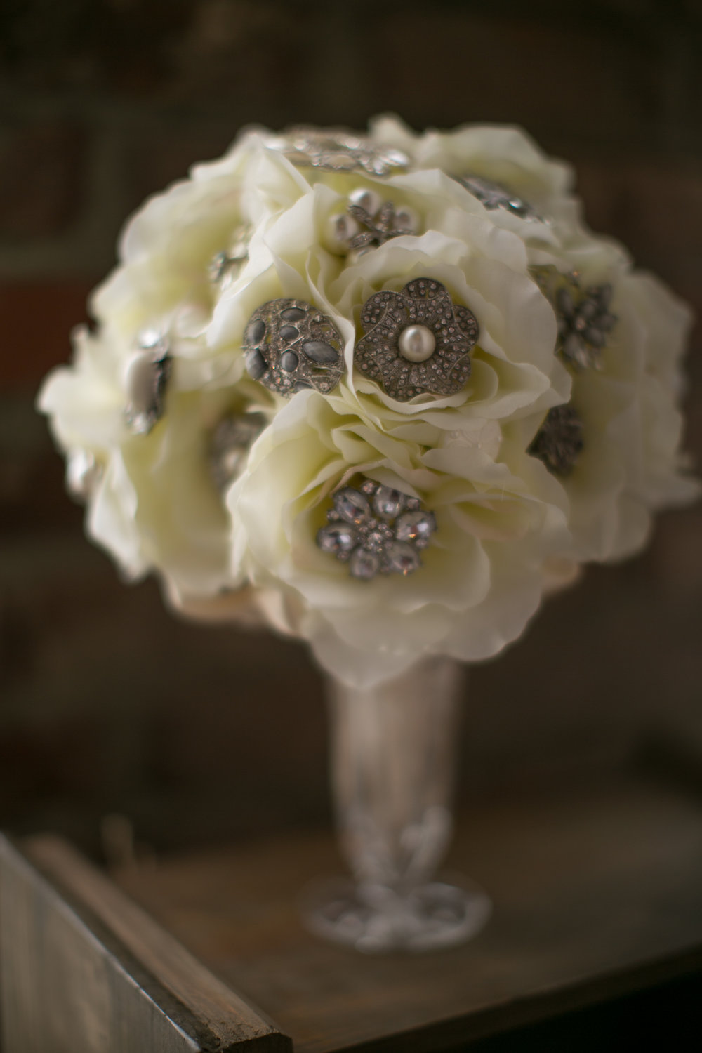 Sarah's brooch bouquet will stay beautiful forever!