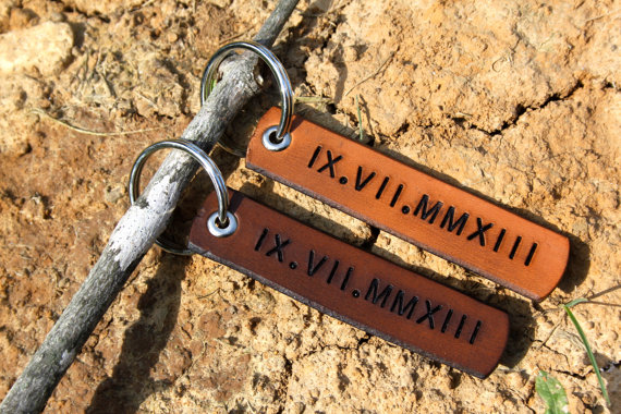 Real Leather Wedding Date Key Chains - This set comes with one for your honey and one to keep for yourself! These real leather keychains are a constant reminder of the vows your took 3 years ago and of the life you've built together since.