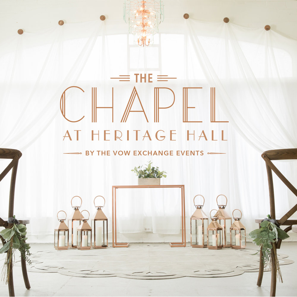 $5500 - THE VOW EXCHANGE CEREMONY + BOTTLES & BITES ATTHE CHAPEL AT HERITAGE HALLSATURDAYS & SUNDAYS