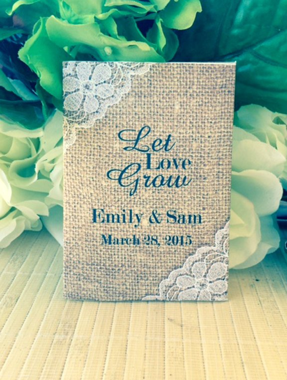 2. Wildflower Seeds - Spread the love with these wildflower seeds in personalized pouches. Send your guests home with blooms that will make them smile every spring!