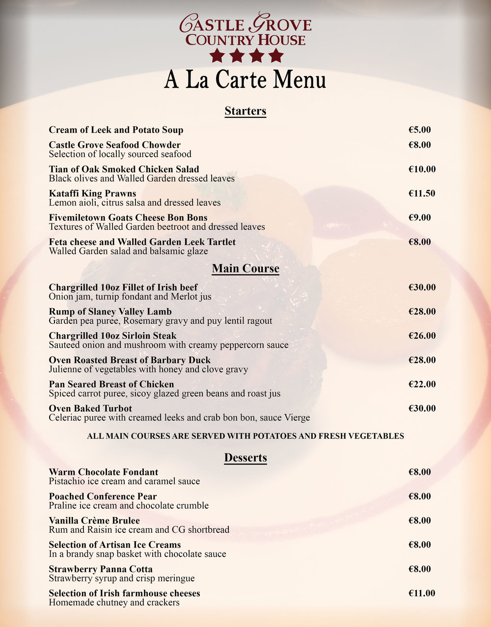 A la Carte Menu — Castle Grove Country House Hotel