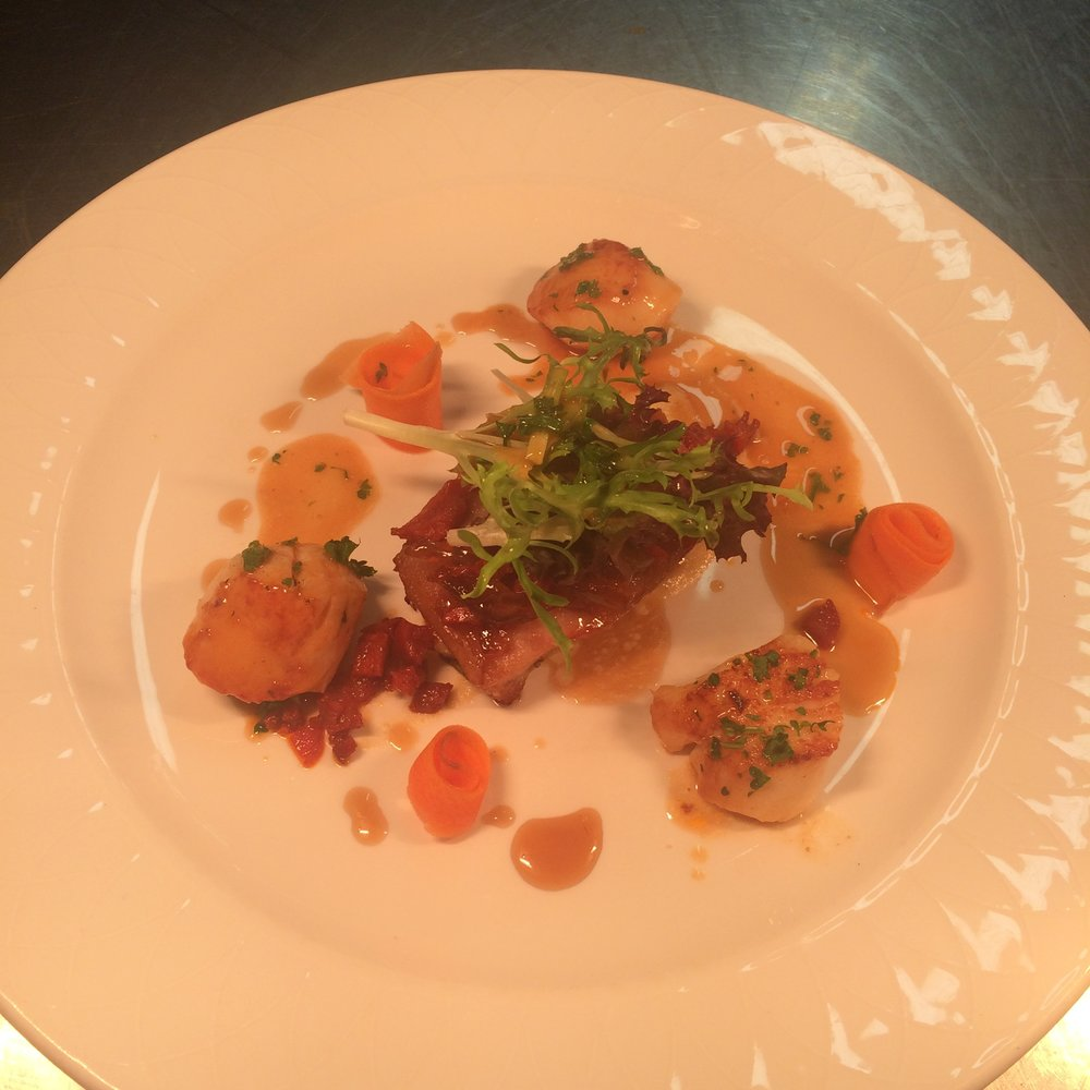 """Cooked to Order"" Rare Breed Pork Belly with Mulroy Bay Scallop"