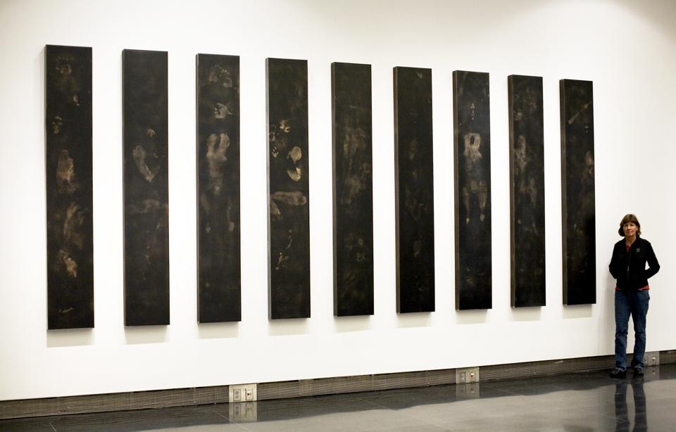 """naming the unnamed 2008 9 panel suite each panel 96 x 15 x 4"""" carbon resin wood steel"""
