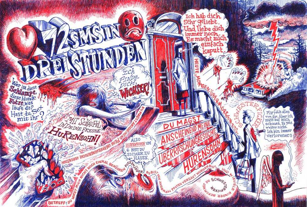 Das Magazin  spread illustration for Stalking Girlfriend story.