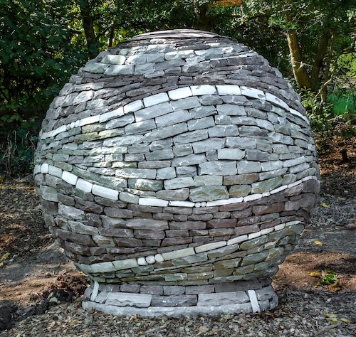 FOBG's 20th Anniversary gift to Brookside gardens --  stone sphere in the fragrance garden
