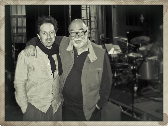 "Backstage with Peter Erskine on our Scotland tour with the Scottish National Jazz Orchestra performing ""The Music of Weather Report""."