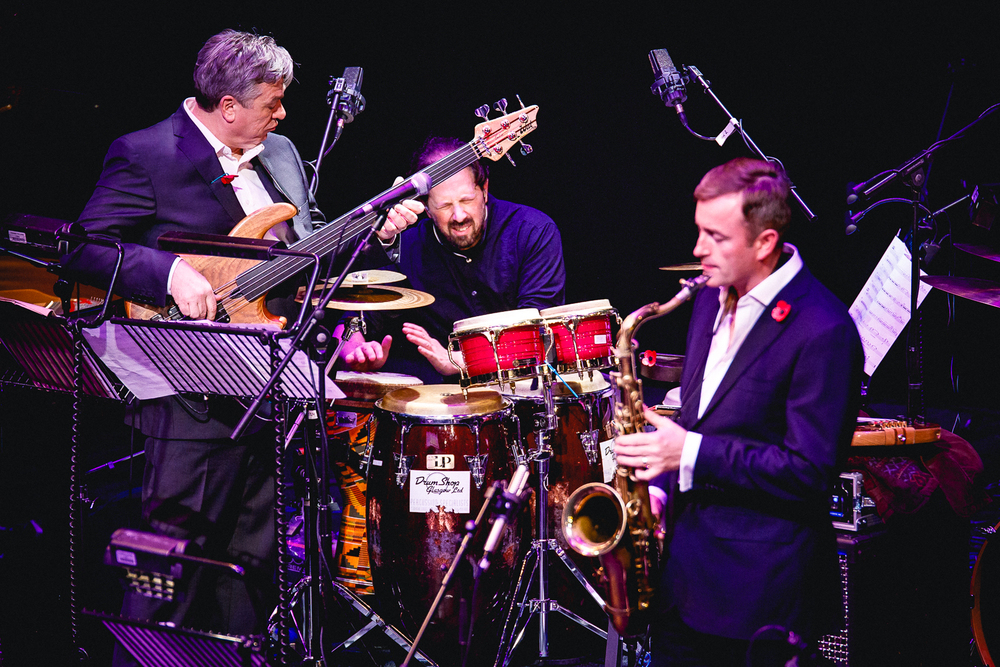 "Live with Laurence Cottle and Tommy Smith during the ""Celebrating Jaco"" tour with the Scottish National Jazz Orchestra. Photo by Gavin McLaughlin ©"