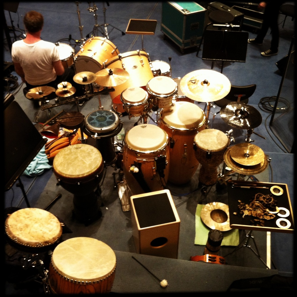 "Percussion set up used on Nguyen Le's ""Celebrating The Dark Side Of The Moon"" concerts and album recording."