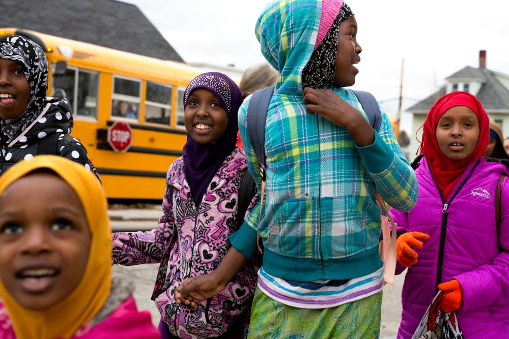December 6, 2015 - Students leave school in Lewiston, Maine, where thousands of Somali refugees live.