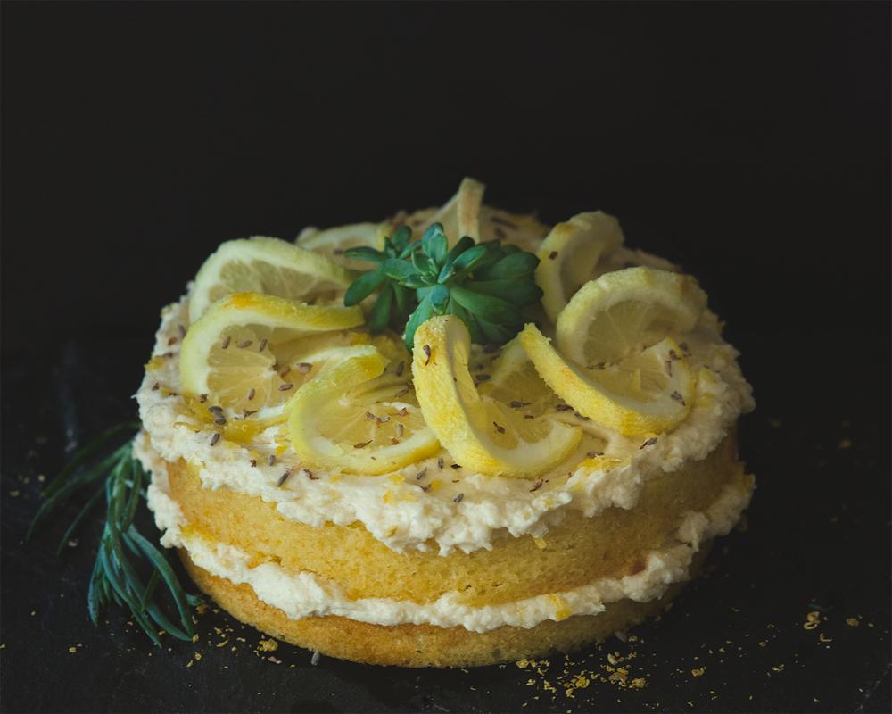 Lavendar vanilla cake with lemon buttercream icing