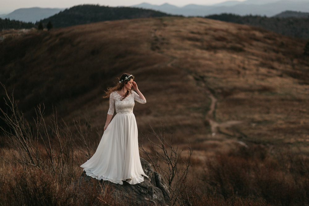 Photo of a bride on Black Balsam Mountain by Amelia Fletcher photography.