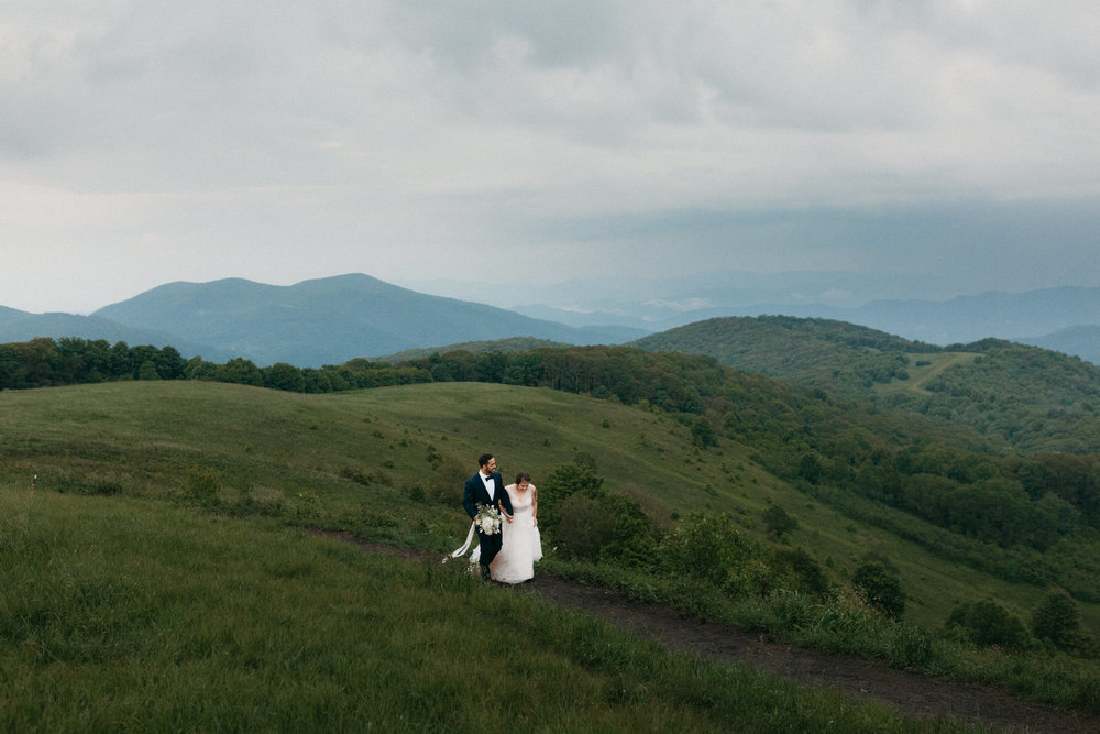 Bride and groom after their wedding elopement at Max Patch in the Blue Ridge Mountains.