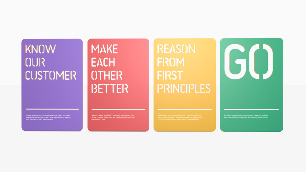 Rendering of the entire set of values cards.