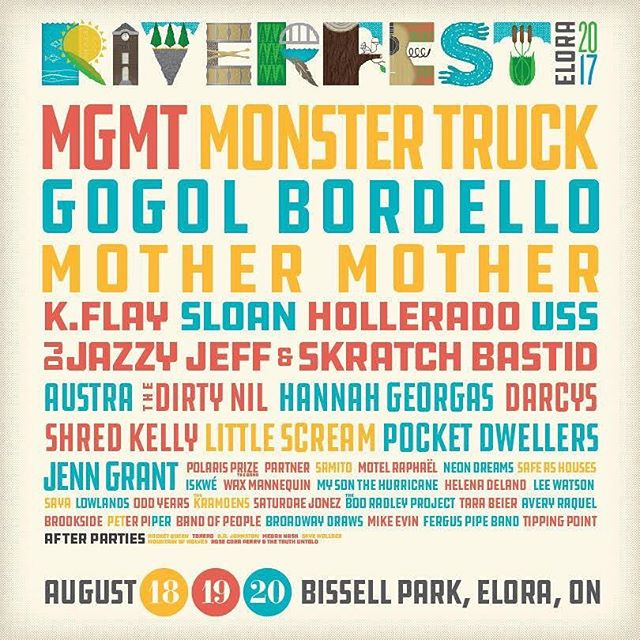 We are really excited to announce that we are playing at Riverfest in Elora this August! It looks like it's going to be a really fun weekend with a ton of great music! Get your tickets at riverfestelora.com/ @riverfestelora #RFE17 #ontariofestival
