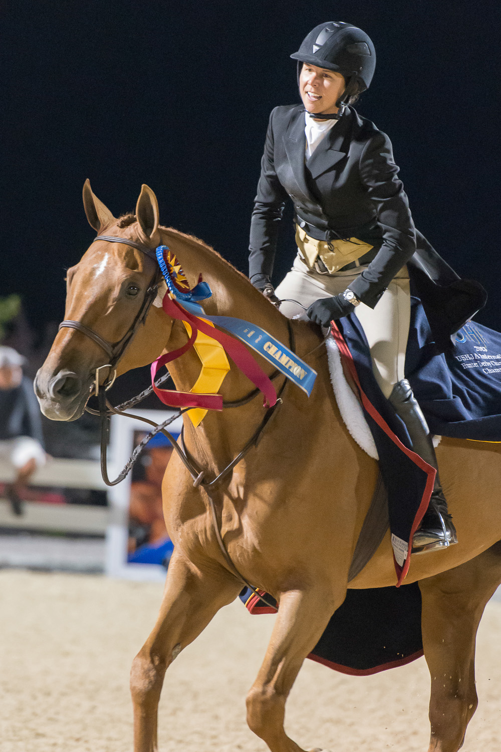 Liza Boyd and Brunello winning the 2013 USHJA International Hunter Derby Championship