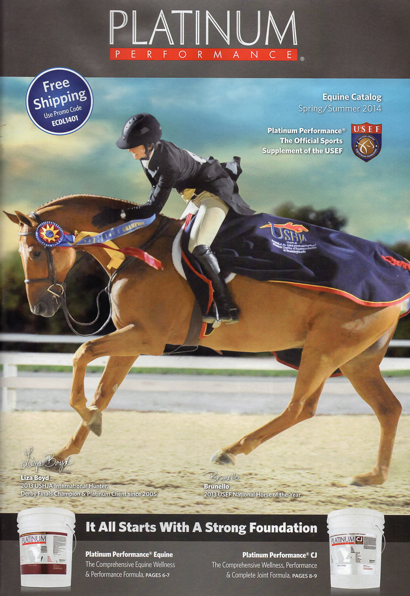 Liza Boyd and Brunello graced the cover of the new Platinum Performance catalog!