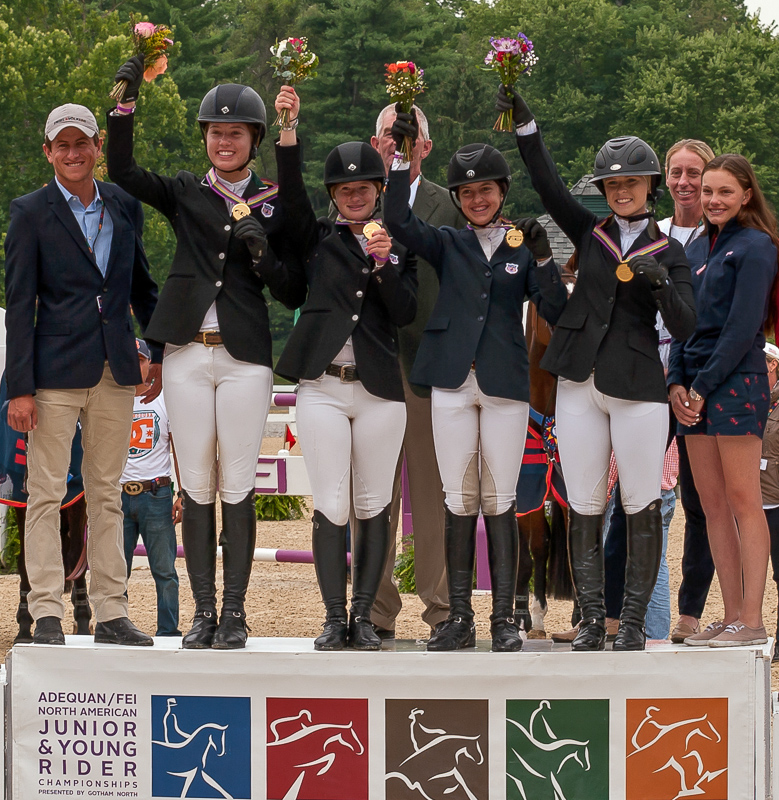 The Zone 1/9 Junior Show Jumping team (from left, Sara Nordstrom, Jennifer Gates, McKayla Langmeier and Victoria Arute) collected the gold medal at the 2014 NAJYRC.