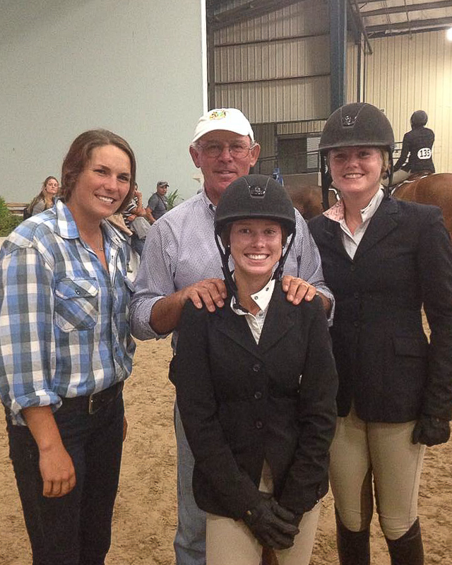 Trainers Tamara Berkowitz and Jack Towell celebrate two great performances by riders Addison Byrd and Sarah Isgett.