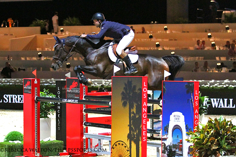 Hardin Towell and Jennifer Gates' Lucifer V fly to victory at the Longines Los Angeles Masters.